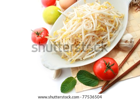 Beansprout with other vegetable and fruits on the table mates - stock photo