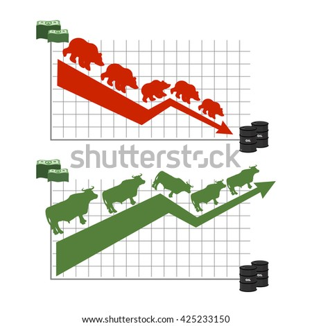 Bear and bull. Rise and fall of oil quotations. Red down arrow. Green up arrow. Traders at stock exchange. Business infographics. Barrel of oil and dollars. Bundles of money and oil reserves - stock photo