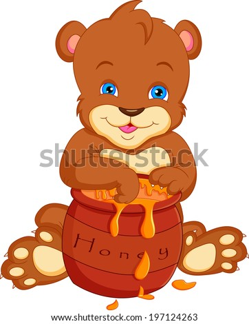 bear cartoon  with honey