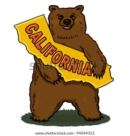 Bear holding a map of California illustration; Brown bear