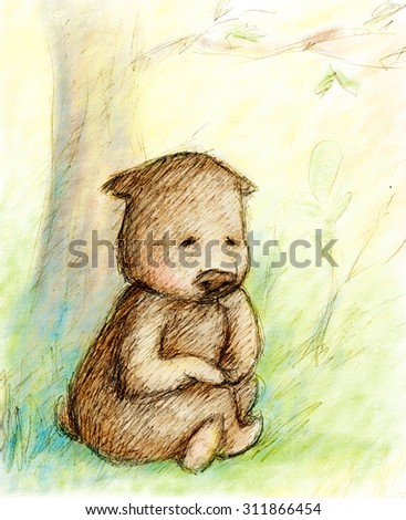 Bear is sitting under the tree - stock photo