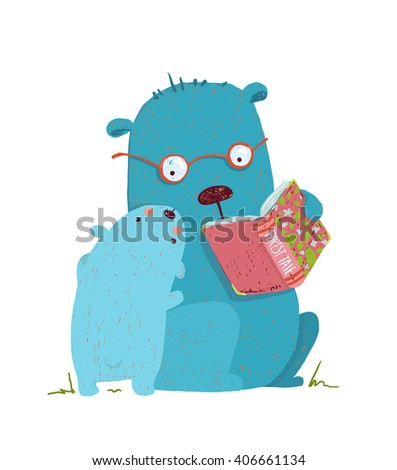 Bear parent reading book to kid. Animal cartoon, teddy read and education. Raster variant. - stock photo