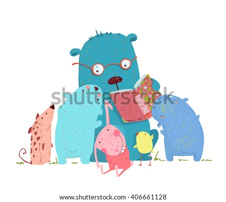 Bear Reading Book for Group of Animal Kids. Children education and reading. Child learning, teacher reading literature knowledge, school wisdom. Raster variant. - stock photo
