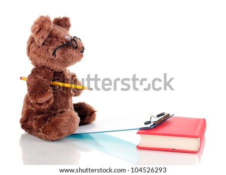 Bear toy writing something isolated on white