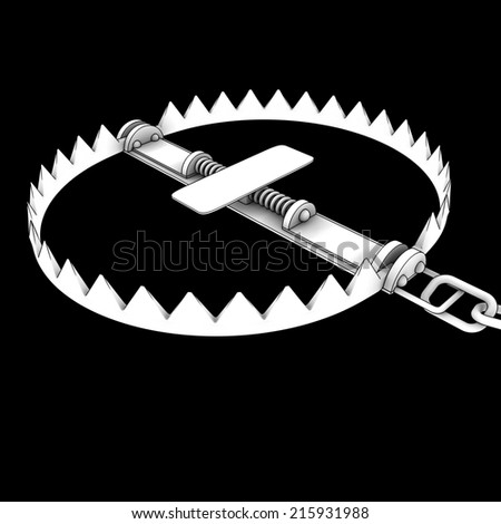 bear trap . isolated on black background. 3d - stock photo