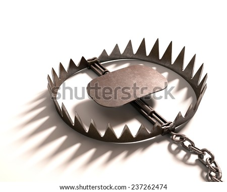 Bear trap on white background. Clipping path included. - stock photo