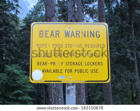 Bear Warning sign, Yosemite National Park, California