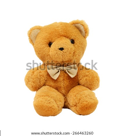 Bear with bow isolated on white background - stock photo