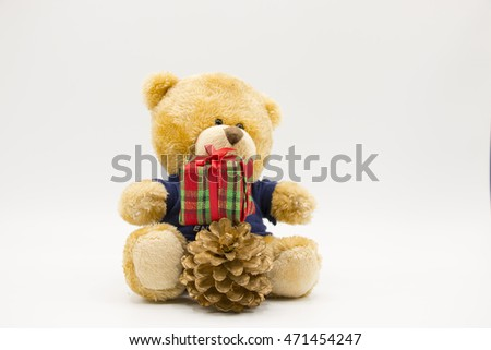 Bear with christmas ornament on white background