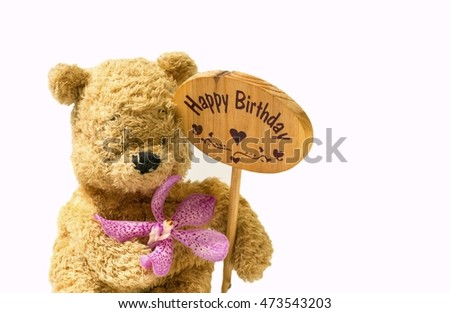 Bear with Happy Birthday sign
