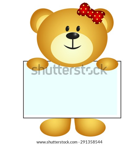 Bear with white board - stock photo