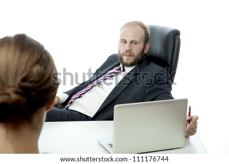 beard business man brunette woman at desk ignoring - stock photo