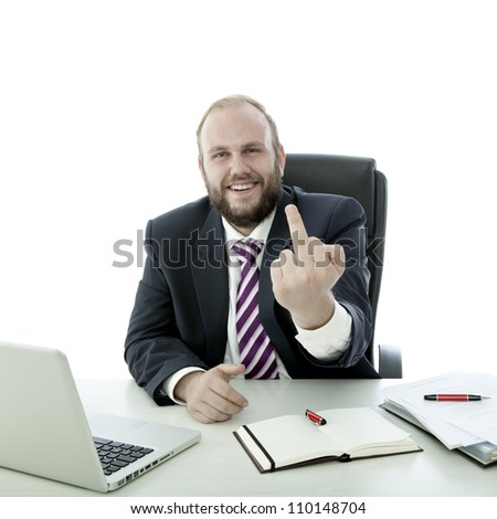 beard business man show middle finger at desk - stock photo