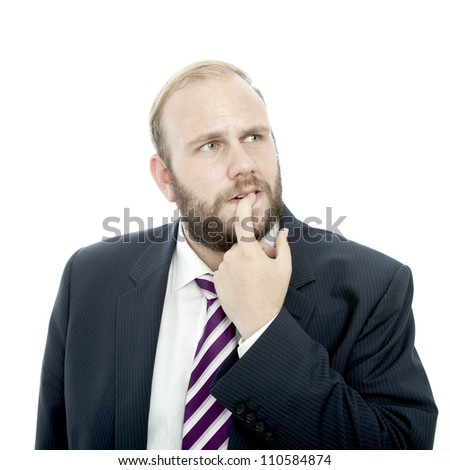 beard business man thinking and unsure - stock photo