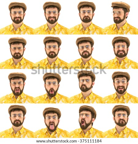 beard glasses and hat vintage hawaii 70s caucasian man collection set of face expression like happy, sad, angry, surprise, yawn isolated on white - stock photo