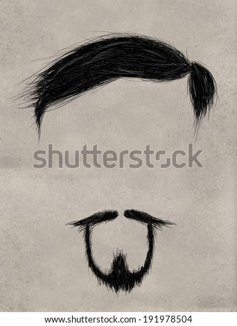 Beard, Hair and Thin mustache