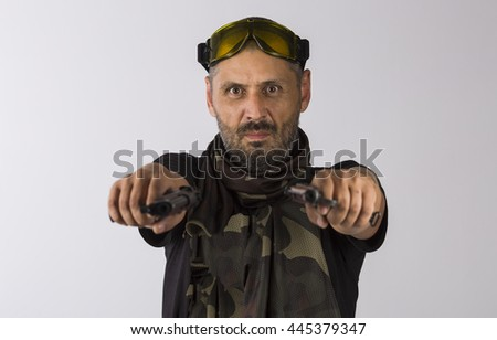 Beard soldier with ak-47 on white background