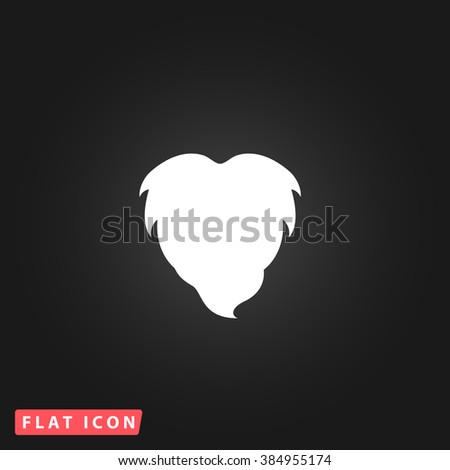Beard White flat icon on dark background. Simple illustration pictogram - stock photo
