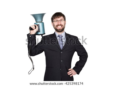 bearded businessman yelling through bullhorn. Public Relations. man expresses various emotions. photos of young businessman wearing a suit and tie. isolated on white background - stock photo