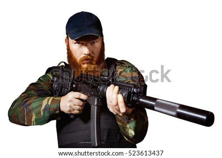Bearded gunman with rifle isolated at white background.
