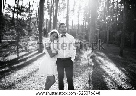 Bearded High fiance stylish with his beloved beautiful wife, short wedding dress, the bride a little like a princess, romantic gay couple