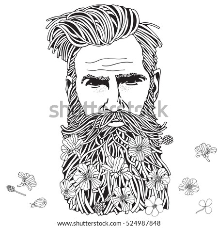 Bearded hipster man. Coloring book page for adult. Hand drawn hipster man with long beard and flowers. Black and white.  Spring flowers. Line art