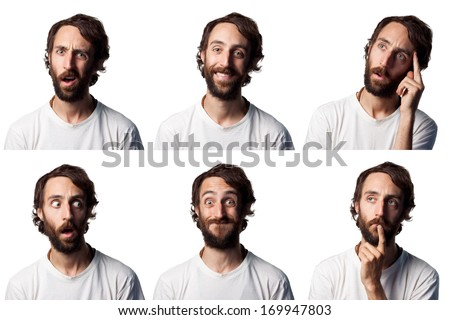 Bearded man collage, 6 different faces