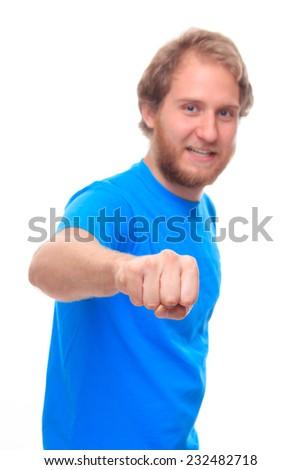 Bearded man doing fist bump  - stock photo