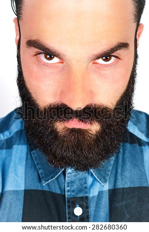 Bearded man face portrait