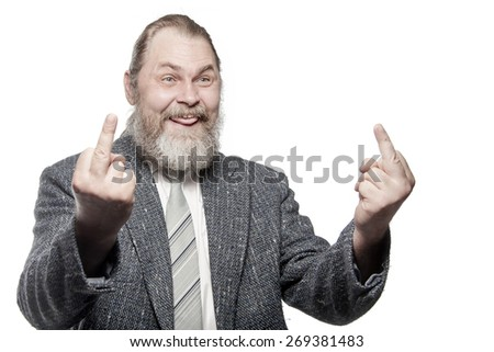 "Bearded man in grey jacket shows ""Fuck off"" sign"
