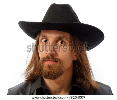 bearded man in hat over white