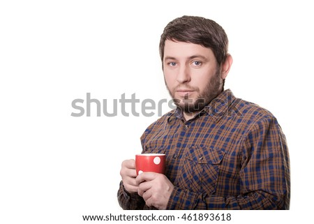 Bearded man in plaid shirt with red cup in his hands. Isolated on white background