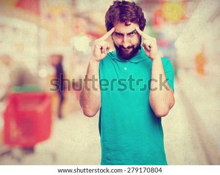 bearded man thinking - stock photo