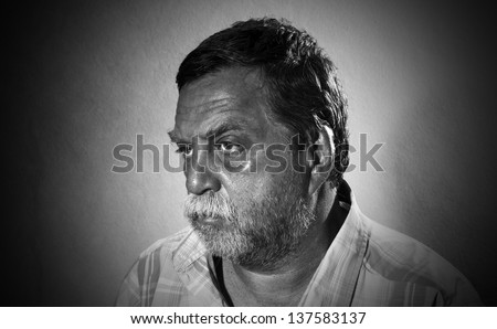 bearded middle-aged man, black and white