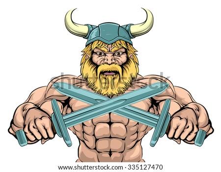 Bearded Viking Warrior mascot with crossed swords - stock photo