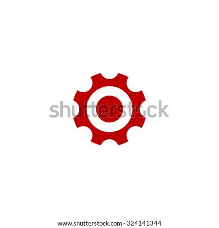 Bearing. Red flat icon. Illustration symbol on white background - stock photo