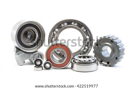 Bearing, rollers and gear parts isolated on white, automotive industry