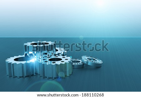 Bearings and gears as a technology concept - stock photo