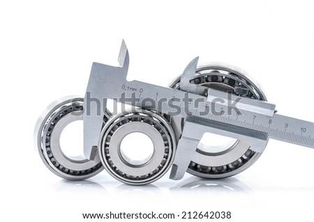 bearings measuring device diameters white background bearings tool isolated on white background - stock photo