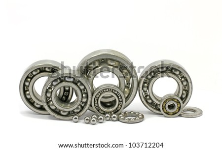 Bearings of different sizes taken on a white background.