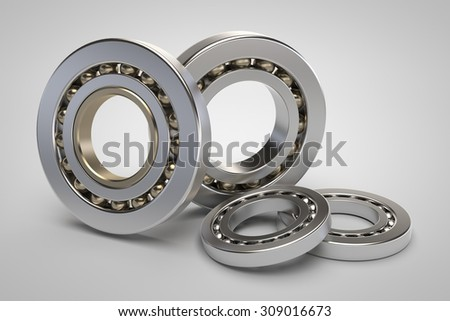 Bearings on white background 3d model render