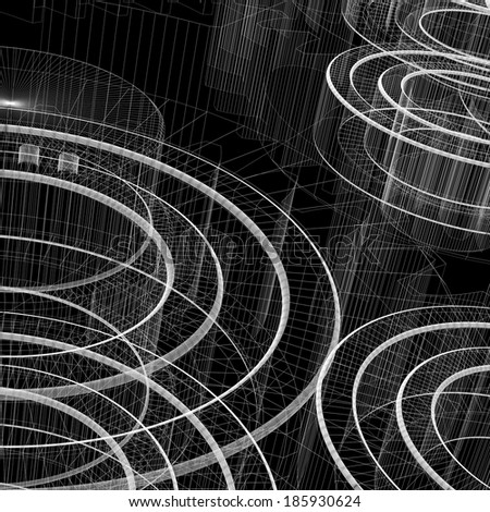 Bearings. Wire-frame render on a black background - stock photo