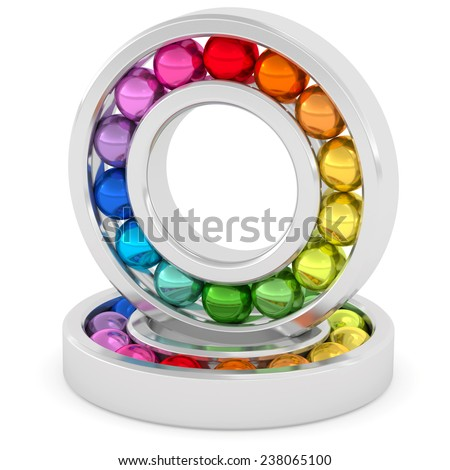 Bearings with colorful balls on white background. High resolution 3D image rendered with soft shadows