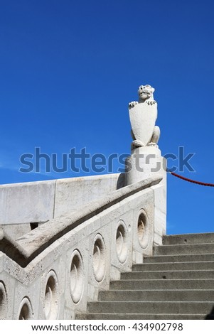 Beast holding a shield on top of a staircase at Fisherman's Bastion, Budapest, Hungary - stock photo