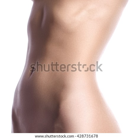 Beatiful body shapes. Slim waist, flat belly, soft clean skin. Perfect female body on white background. Sexy curves, sport form. Healthcare