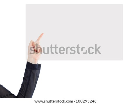 Beatiful business woman with a white banner. Isolated on a white background. - stock photo