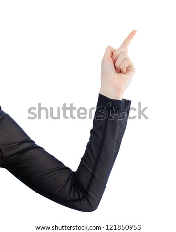 Beatiful business woman with a white banner. Isolated on a white background.