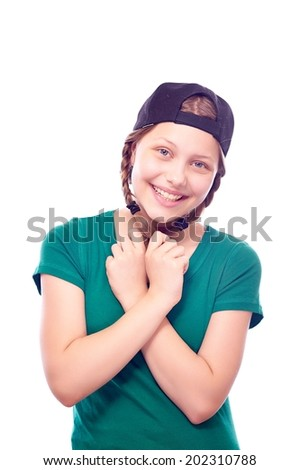 Beatiful charming teen girl posing and having fun - stock photo