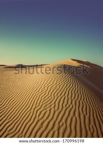 beatiful evening landscape in desert - vintage retro style - stock photo