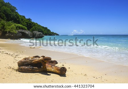Beatiful tropical beach with blue water, paradise view, Indonesia.